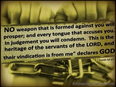Isaiah 54:17 No Weapon Formed Against Your Will Prosper (green)