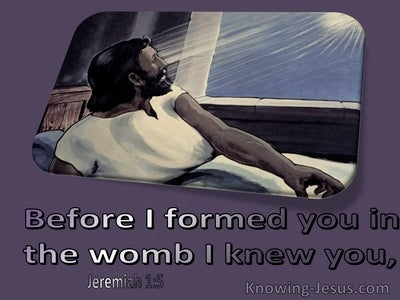Jeremiah 1:5 Before I Formed You In The Womb I Knew You (purple)