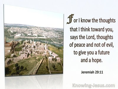 Jeremiah 29:11 For I Know The Thoughts I Have Towards You Thoughts Of Peace and not Evil (green)