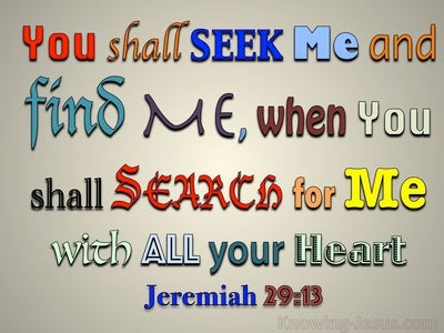 Jeremiah 29:13 You Shall Seek Me And Find Me (blue)