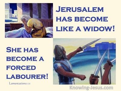 Lamentations 1:1 Jerusalem Has Become Like A Widow (beige)