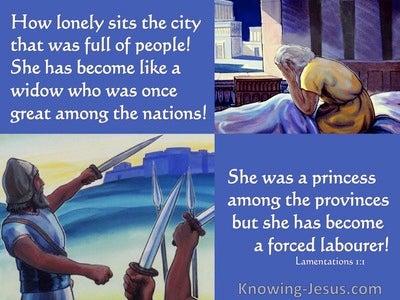 Lamentations 1:1 Jerusalem Has Become Like A Widow (blue)