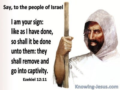 Ezekiel 12:11 You Are To Be A Sign To Israel (brown)