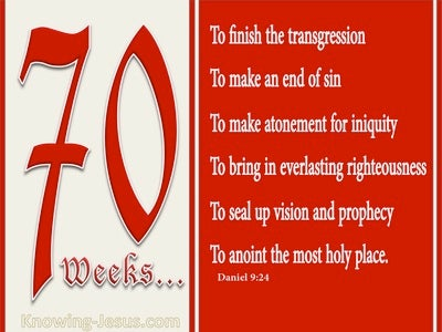 Daniel 9:24 Seventy Weeks Have Been Decreed For Your People (red)