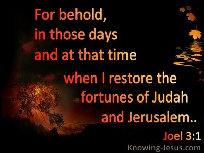 Joel 3:1 In The Day Of The Lord I Will Restore The Fortune Of Judah (black)