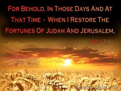 Joel 3:1 When I Restore The Fortunes Of Judah And Jerusalem (black)