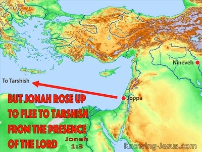 Jonah 1:3 Jonah rose up to flee to Tarshish (red)