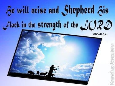 Micah 5:4 He Will Arise And Shepherd His Flock (blue)