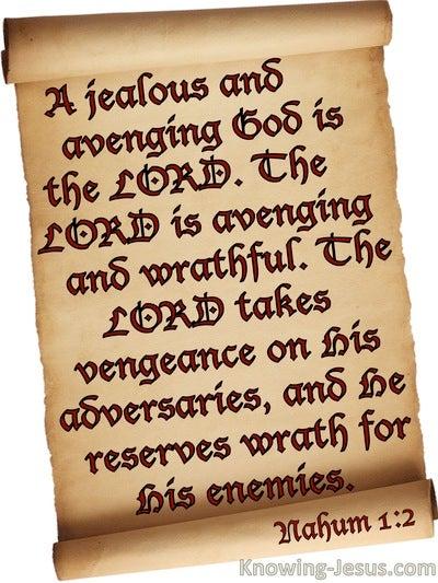 Nahum 1:2 A Jealous And Avenging God (beige)