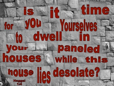 Haggai 1:4 This House Lies Desolate (red)