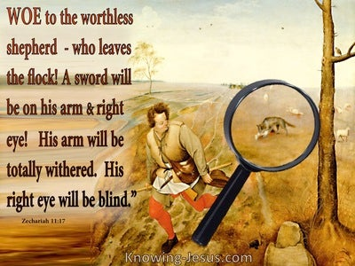 Zechariah 11:17 Woe To The Worthless Shepherd (red)