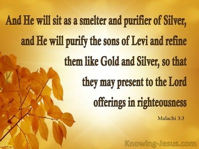 Malachi 3:3 He Will Purify Them Like God And Silver (yellow)