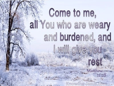 Matthew 11:28 Come To Me And I Will Give You Rest (gray)