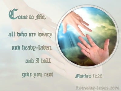 Matthew 11:28 Come Unto Me (blue)
