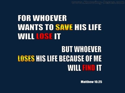 Matthew 16:25 Whoever Will Lose His Life For My Sake (blue)