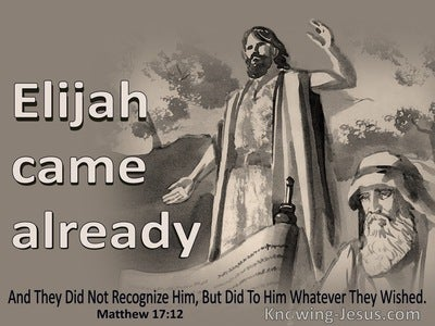 Matthew 17:12 Elijah Already Came, And They Did Not Recognize Him (brown)
