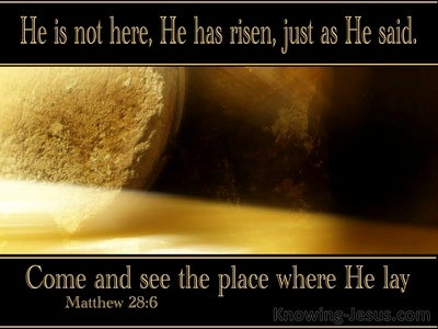 Matthew 28:6 He Is Not Here He Is Risen (black)