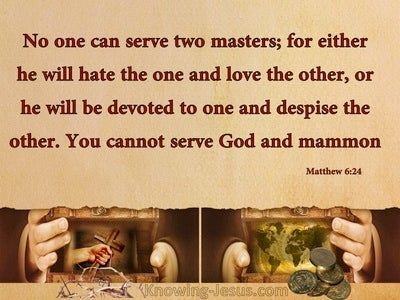 Matthew 6:24 No One Can Serve Two Masters (beige)