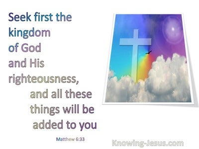 Matthew 6:33 Seek Ye First The Kingdom Of God (cream): Calibri narrow