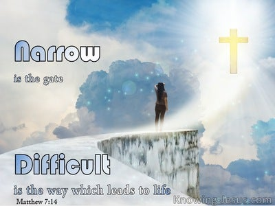 Matthew 7:14 The Gate Is Small And The Way Is Narrow  (white)
