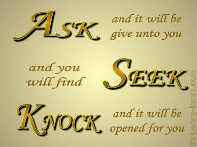 Matthew 7:7 Ask, Seek, Knock (gold)