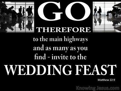 Matthew 22:9 Invitation To The Wedding Feast (white)
