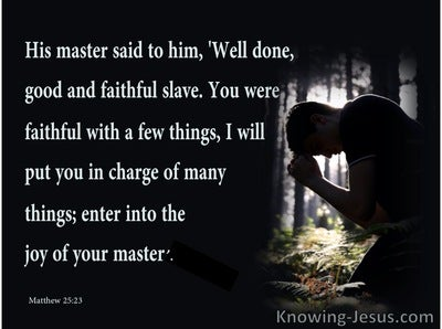 Matthew 25:23 Well Done Good And Faithful Slave (navy)