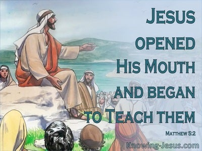 Matthew 5:2 He Opened His Mouth And Taught Them (aqua)