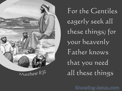 Matthew 6:32 Your Heavenly Father Knows You Need All These Things (gray)