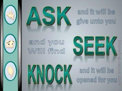 Matthew 7:7 Ask  Seek  Knock (green)