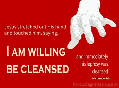 Matthew 8:3 Jesus Put Out His Hand (gray)