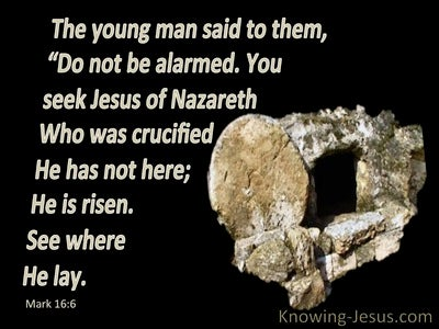Mark 16:6 He Is Not Here He Is Risen (black)