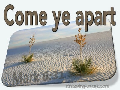 Mark 6:31 Come Ye Yourselves Apart Into A Desert Place And Rest (beige)