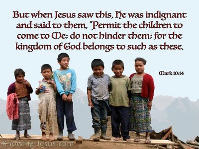 Mark 10:14 Let The Children Come To Me (blue)