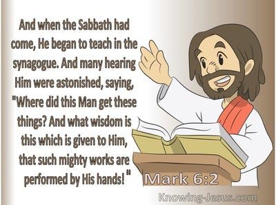 Mark 6:2 He Began To Teach In The Synagogue (beige)