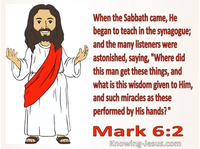 Mark 6:2 He Began To Teach In The Synagogue (red)