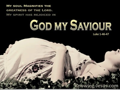 Luke 1:47 My Spirit Rejoiced In God My Saviour (brown)