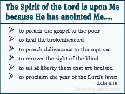 Luke 14:18 The Spirit Of The Lord Is Upon Me (aqua)