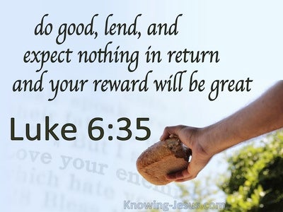 Luke 6:35 Do Good And Lend (blue)