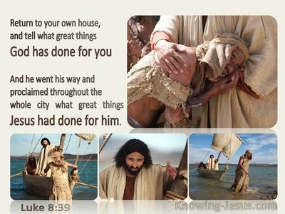 Luke 8:39 Tell What Great Things God Has Done (beige)