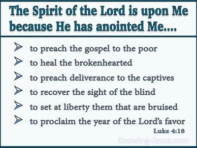 Luke 4:18 The Spirit Of The Lord Is Upon Me (aqua)