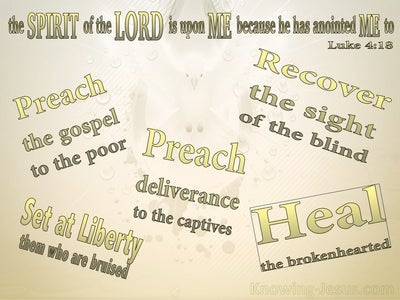Luke 4:18 The Spirit Of The Lord Is Upon Me (gold)