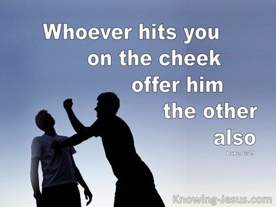 Luke 6:29 Whoever Hits You (blue)