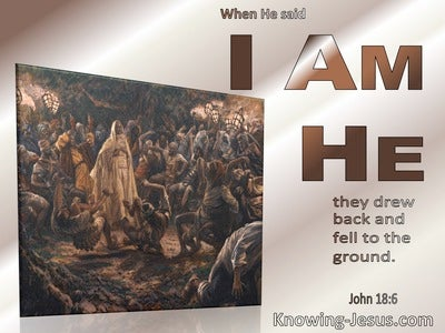 John 18:6 Jesus Said I Am He And They Drew Back (beige)