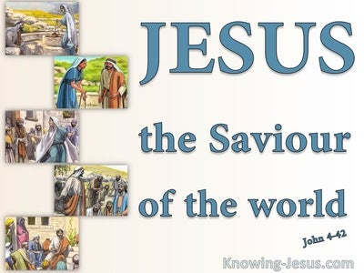 John 4:42 We Know He Is The Saviour Of The World (blue)