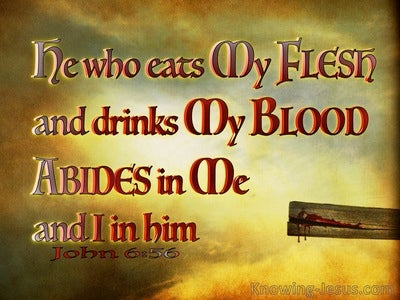 John 6:56  He Who Eats My Flesh And Drinks My Blood Abides In Me (brown)