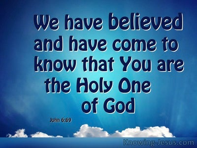 John 6:69 The Holy One Of God (blue)