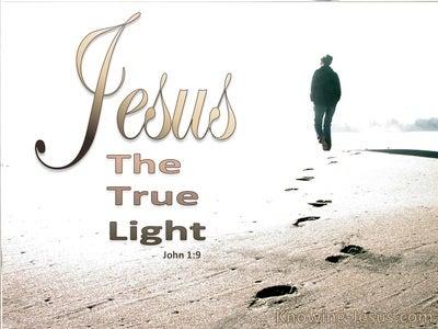 John 1:9 Jesus The True Light (beige)
