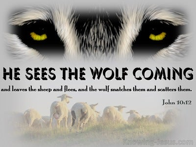 John 10:12 He Sees The Wolf Coming (black)