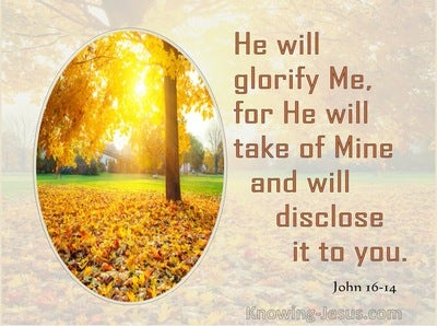 John 16:14 He Will Disclose It To You (brown)